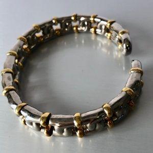 Joan Rivers Silver Gold tone Signed Cuff Bracelet